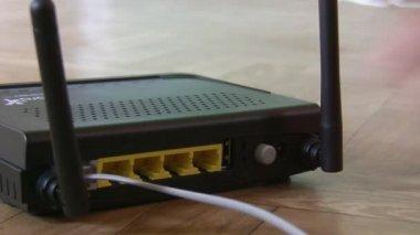 调制解调器、 电缆堵 — 图库视频影像