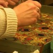 Stock Video: Art students practicing ebru