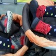Twins in a baby carriage — Stockvideo