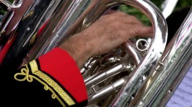 Brass orchestra detail — Stock Video