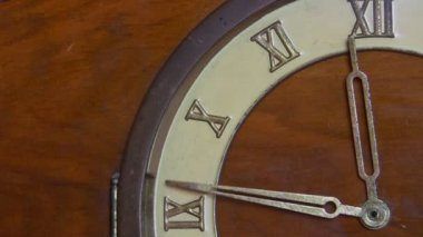 Antique wooden clock, almost midnight — Stock Video