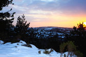 Winter sunset over snowy Rochdale town — Stock Photo