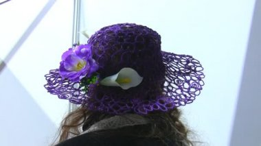 Womans hat with flowers — Stock Video