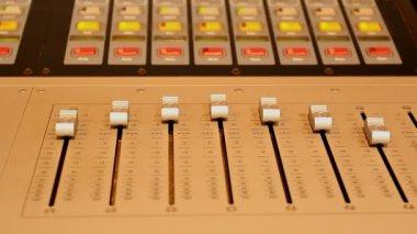 Studio sound control panel sliders and lights — Stock Video