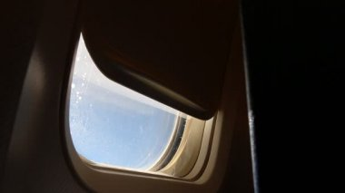 Closing airplane window curtain — Video Stock