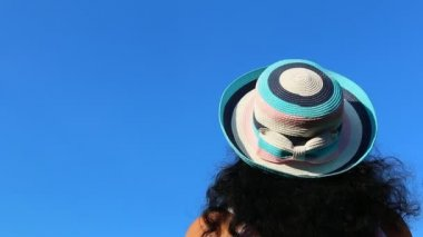 Woman with hat isolated on blue background — Stock Video