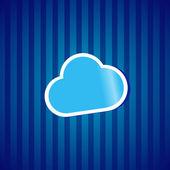 Ilustración de la etiqueta engomada icion concepto vector de computación en la nube — Vector de stock