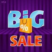 Vector illustration of big sale poster with paper bag — Stock Vector