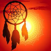 Capteur de rêves, la silhouette d'une plume sur un coucher de soleil fond — Vecteur