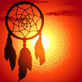Dream catcher, silhouette of a feather on a background sunset — Vecteur