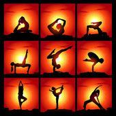 Uppsättning vektor illustration av att meditera och göra yogaställningarna — Stockvektor