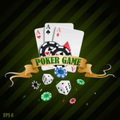 Vector illustration poker gambling chips poster . poker collection with chips, dices, cards — Stock Vector
