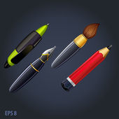 Set of drawing and painting tools ,pen, ink pencil, brush — Stock Vector