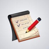 Bloc de notas abiertas de vector con el icono de lápiz rojo — Vector de stock