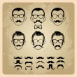 Faces with Mustaches, sunglasses,eyeglasses and a bow tie - vector illustration — Stock Vector #12796840