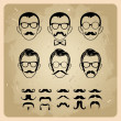 Faces with Mustaches, sunglasses,eyeglasses and a bow tie - vector illustration - Stock Vector