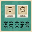 Set of vector illustration faces with mustaches - Stock Vector