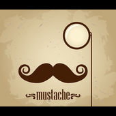 Vector hipster mustache and monocle — Stock vektor