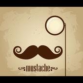 Vektor hipster mustasch och monokel — Stockvektor