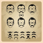 Faces with Mustaches, sunglasses,eyeglasses and a bow tie - vector illustration — Vector de stock
