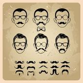 Visages avec moustaches, lunettes de soleil, lunettes de vue et un noeud papillon - illustration vectorielle — Vecteur