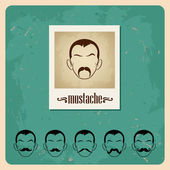 Set of vector illustration faces with mustaches — Stock Vector