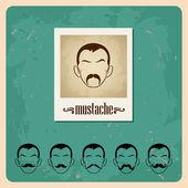 口ひげを生やしてベクトル イラスト面を設定します。 — ストックベクタ