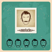 Ensemble de faces illustration vectorielle avec moustaches — Vecteur