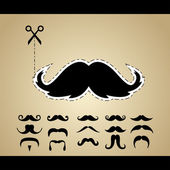 Vector set of hipster mustache — Vector de stock