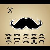 Vektor uppsättning hipster mustasch — Stockvektor