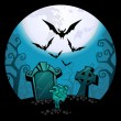 Halloween background. creepy zombie hand and grave, a flock of bats  — Stock Vector