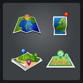 Vectror karta ange ikon med pin — Stockvektor