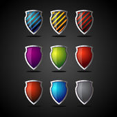 Set of colorful shields — Stock Vector