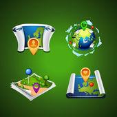 Travel set icon vectror map web design. element — Stock Vector