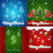 Set of Christmas Greeting Cards — Stock Vector