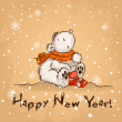 Cute cartoon polar bear.winter. christmas card — ベクター素材ストック