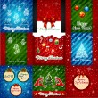 Set of Christmas Greeting Cards. Merry Christmas lettering - Stok Vektör