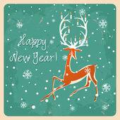 Christmas deer, Vintage vector seamless illustration Greeting card — Stock Vector