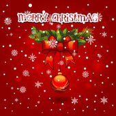 Christmas wreath with ball decoration. merry christmas card — Stock Vector