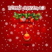 Noel çelenk topu dekorasyonu ile. neşeli noel kartı — Stok Vektör