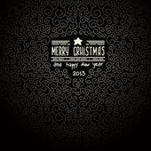 Merry christmas black Greeting Card — Stock Vector