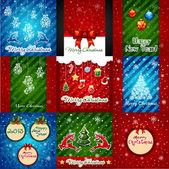 Set of Christmas Greeting Cards. Merry Christmas lettering — Stock Vector