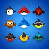 Set funny birds — Stock Vector