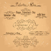 Vector set of calligraphic Vintage design elements.Valentines day card vector — Stock Vector