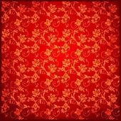 Red vintage background floral pattern — Stock Vector