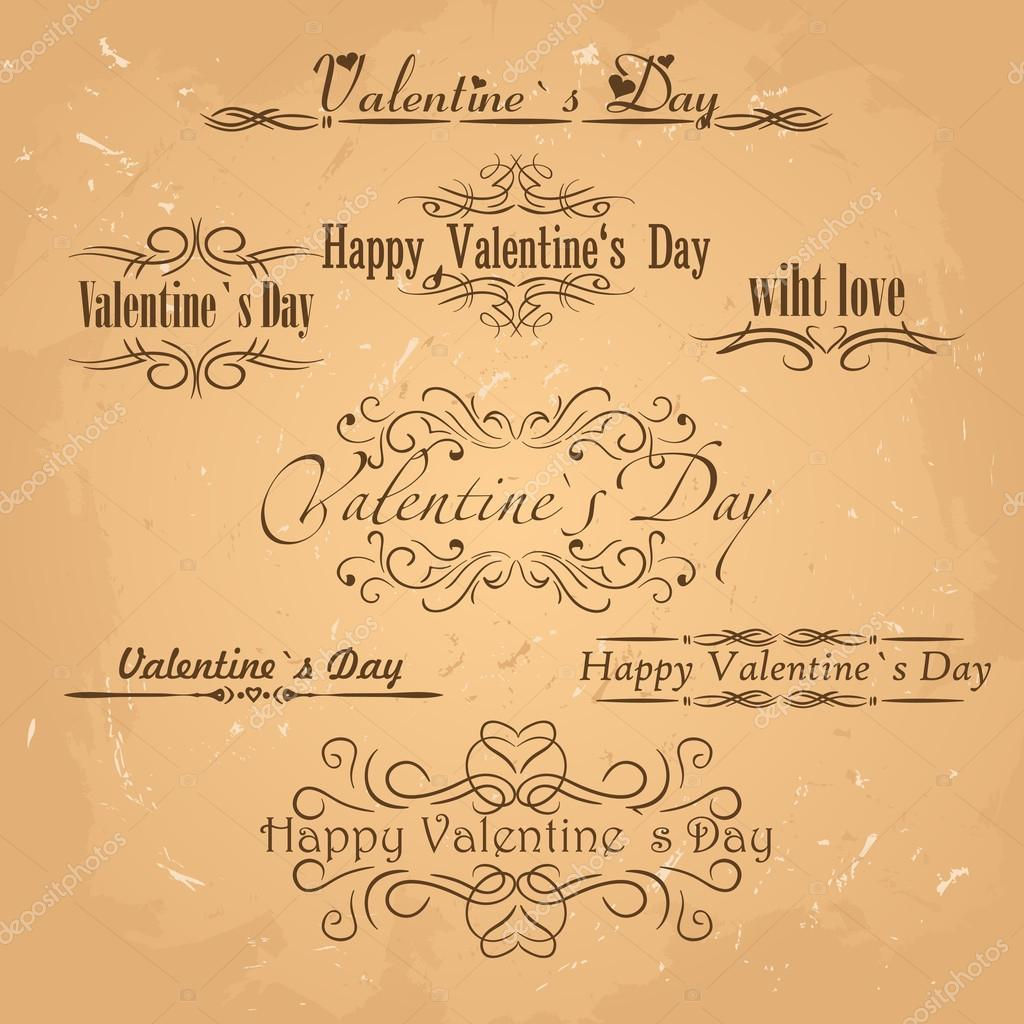Vector set of calligraphic Vintage design elements.Valentines day card vector  — Stock Vector #18669723