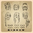 Girls faces with hair, sunglasses and shape of the lips - Stock Vector