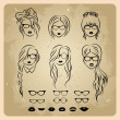Girls faces with hair, sunglasses and shape of the lips - Imagen vectorial