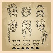 Girls faces with hair, sunglasses and shape of the lips — Stock Vector