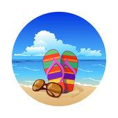 Verano playa colorido flip-flop con gafas de sol — Vector de stock